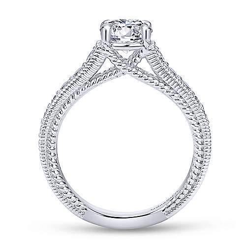 Yara 14k White Gold Round Straight Engagement Ring angle 2