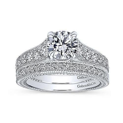 Yara 14k White Gold Round Straight Engagement Ring angle 4