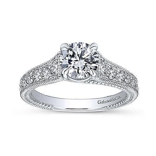 Yara 14k White Gold Round Straight Engagement Ring angle 5
