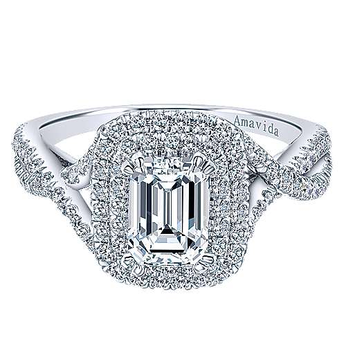 Gabriel - Yazmin 18k White Gold Emerald Cut Double Halo Engagement Ring