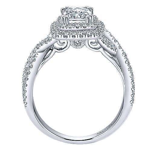 Yazmin 18k White Gold Emerald Cut Double Halo Engagement Ring angle 2