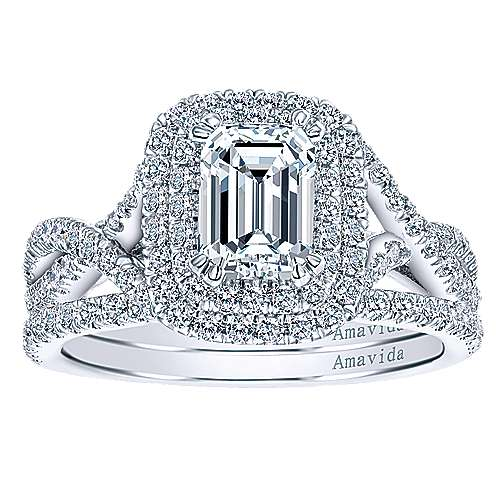 Yazmin 18k White Gold Emerald Cut Double Halo Engagement Ring