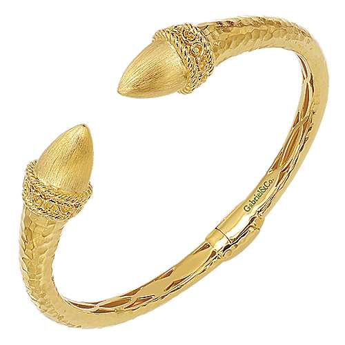 Yellow Plated 925 Silver Open Hinged Bangle