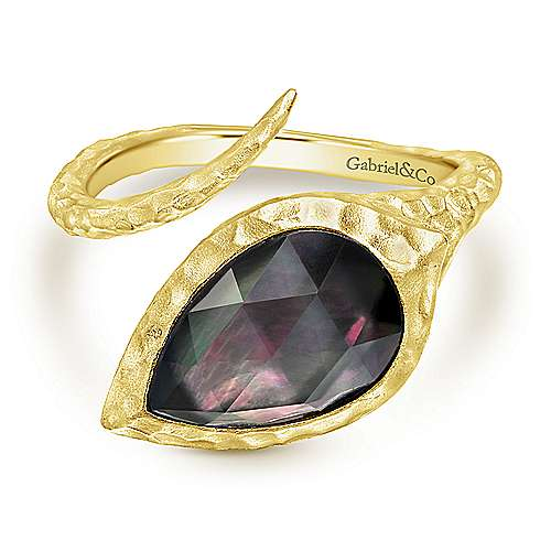 Yellow Plated Silver Hammered Pear Black Pearl/Rock Crystal Open Wrap Ring