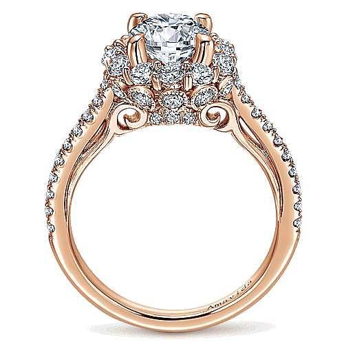 Yesenia 18k Rose Gold Round Halo Engagement Ring angle 2