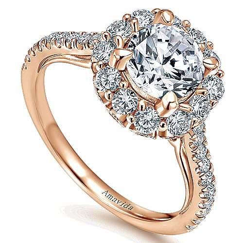 Yesenia 18k Rose Gold Round Halo Engagement Ring angle 3