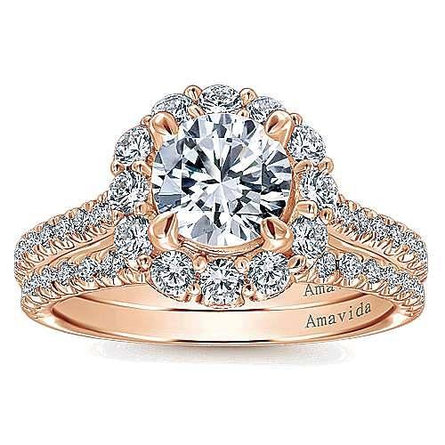 Yesenia 18k Rose Gold Round Halo Engagement Ring angle 4
