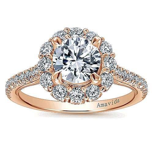 Yesenia 18k Rose Gold Round Halo Engagement Ring angle 5