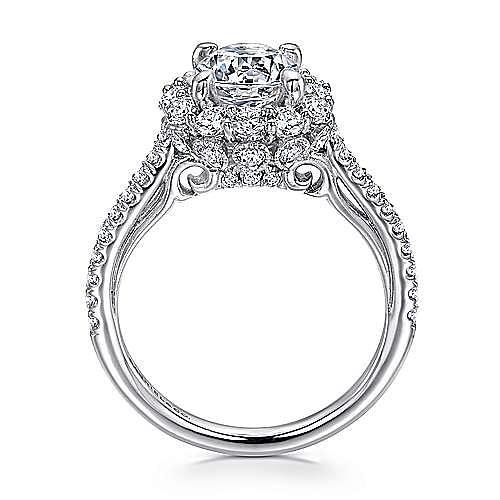 Yesenia 18k White Gold Round Halo Engagement Ring angle 2