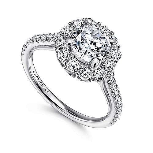 Yesenia 18k White Gold Round Halo Engagement Ring angle 3