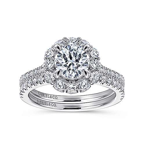 Yesenia 18k White Gold Round Halo Engagement Ring angle 4