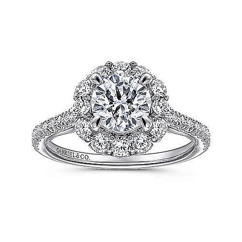 Yesenia 18k White Gold Round Halo Engagement Ring angle 5