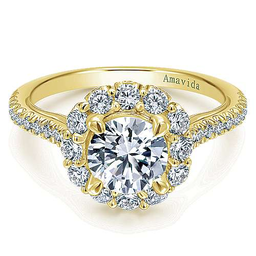 Yesenia 18k Yellow Gold Round Halo Engagement Ring angle 1