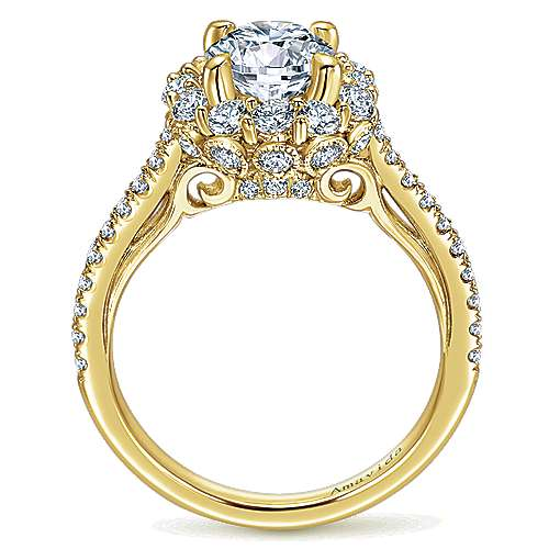 Yesenia 18k Yellow Gold Round Halo Engagement Ring angle 2
