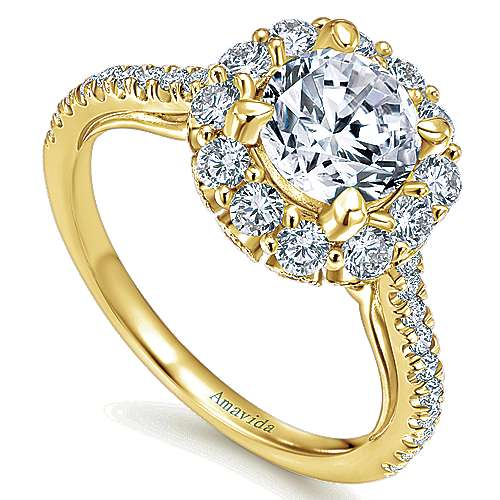 Yesenia 18k Yellow Gold Round Halo Engagement Ring angle 3