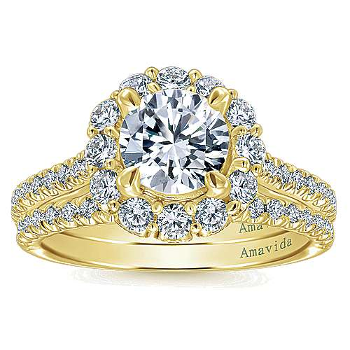 Yesenia 18k Yellow Gold Round Halo Engagement Ring angle 4
