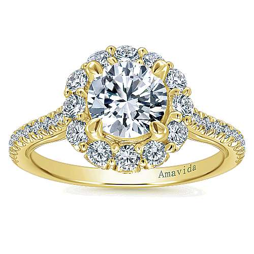 Yesenia 18k Yellow Gold Round Halo Engagement Ring angle 5
