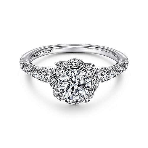Gabriel - Yolanda Platinum Round Halo Engagement Ring