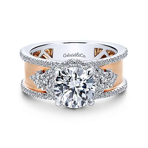 Gabriel - Zabila 14k White And Rose Gold Round Halo Engagement Ring