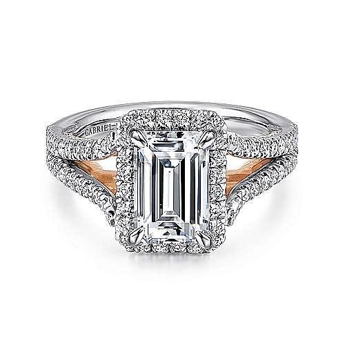 Gabriel - Zaina 18k White And Rose Gold Emerald Cut Halo Engagement Ring