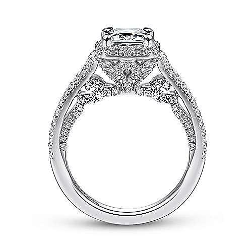 Zaina 18k White Gold Emerald Cut Halo Engagement Ring angle 2