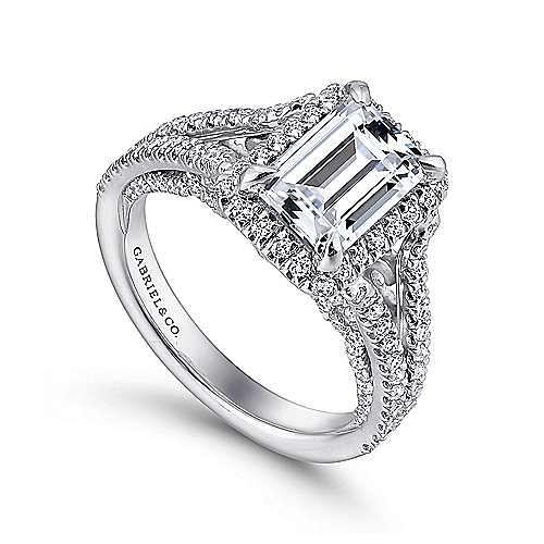 Zaina 18k White Gold Emerald Cut Halo Engagement Ring angle 3