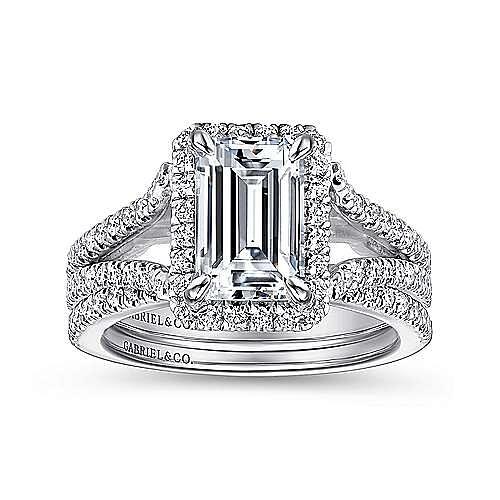Zaina 18k White Gold Emerald Cut Halo Engagement Ring angle 4