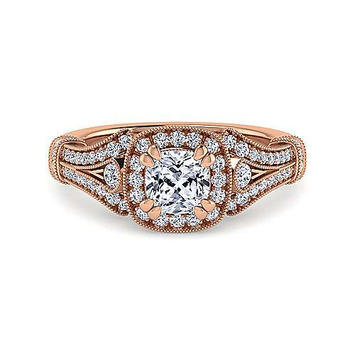 Gabriel - Zaira 14k Rose Gold Cushion Cut Halo Engagement Ring