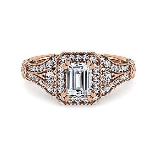 Gabriel - Zaira 14k Rose Gold Emerald Cut Halo Engagement Ring