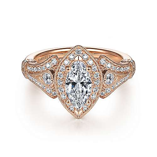 Gabriel - Zaira 14k Rose Gold Marquise  Halo Engagement Ring