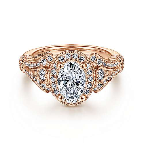 Gabriel - Zaira 14k Rose Gold Oval Halo Engagement Ring