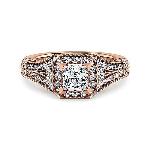 Gabriel - Zaira 14k Rose Gold Princess Cut Halo Engagement Ring
