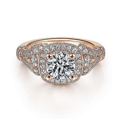 Gabriel - Zaira 14k Rose Gold Round Halo Engagement Ring