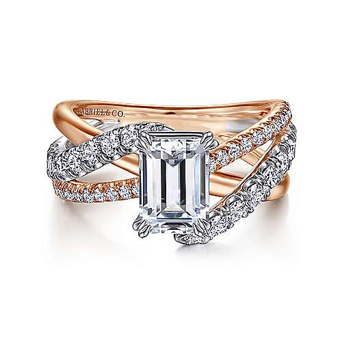 Gabriel - Zaira 14k White And Rose Gold Emerald Cut Free Form Engagement Ring