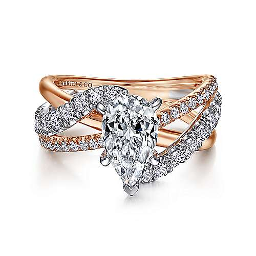 Gabriel - Zaira 14k White And Rose Gold Pear Shape Free Form Engagement Ring