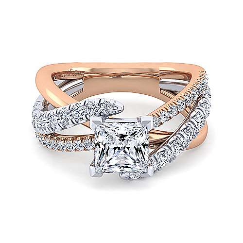 Gabriel - Zaira 14k White And Rose Gold Princess Cut Free Form Engagement Ring