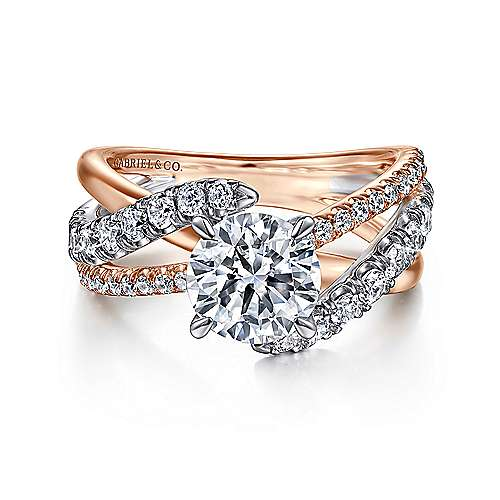Zaira 14k White And Rose Gold Round Free Form Engagement Ring
