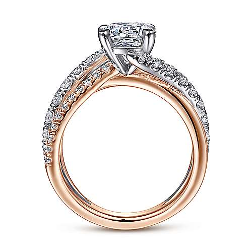 zaira 14k white and rose gold round free form engagement ring angle 2 - Pictures Of Wedding Rings