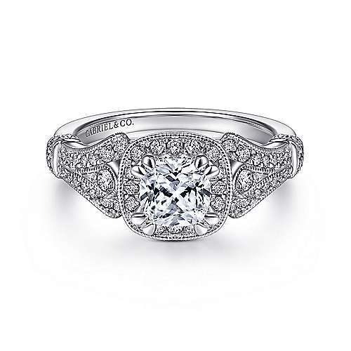 Gabriel - Zaira 14k White Gold Cushion Cut Halo Engagement Ring