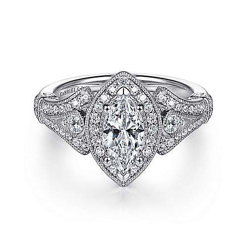 Gabriel - Zaira 14k White Gold Marquise  Halo Engagement Ring