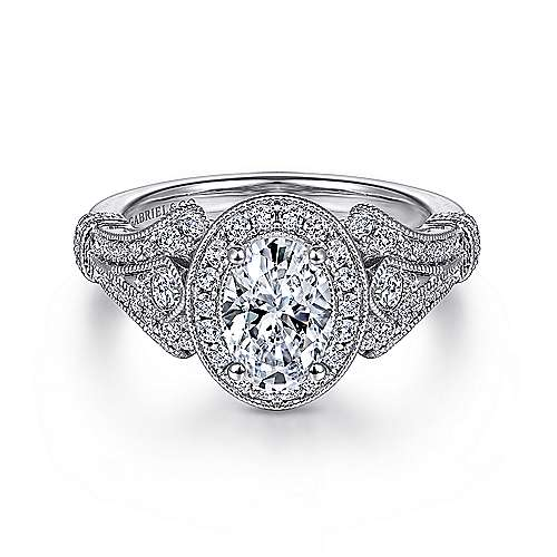 Gabriel - Zaira 14k White Gold Oval Halo Engagement Ring