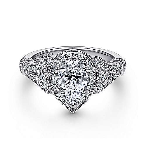 Gabriel - Zaira 14k White Gold Pear Shape Halo Engagement Ring