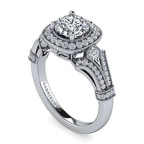 Zaira 14k White Gold Round Halo Engagement Ring angle 3