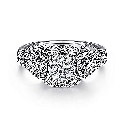 Zaira 14k White Gold Round Halo Engagement Ring angle 1
