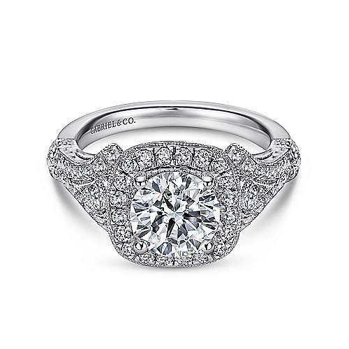 Gabriel - Zaira 14k White Gold Round Halo Engagement Ring