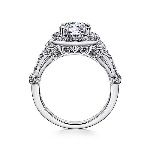 Zaira 14k White Gold Round Halo Engagement Ring angle 2