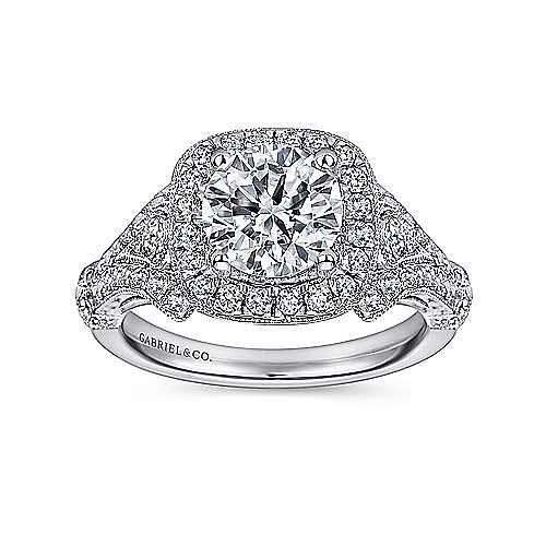 Zaira 14k White Gold Round Halo Engagement Ring angle 5