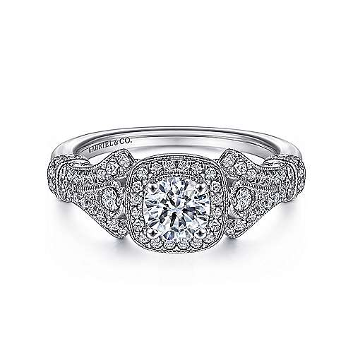 Gabriel - Zaira 14k White Gold Round Halo Engagement Ring