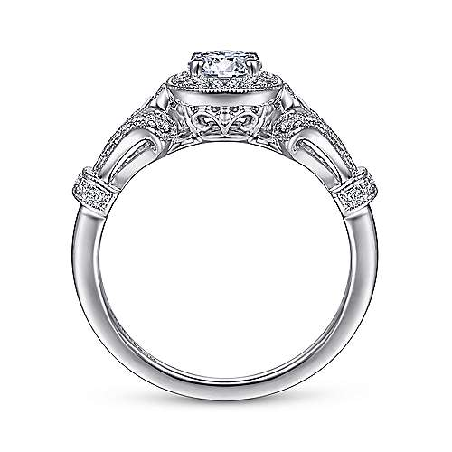Zaira 14k White Gold Round Halo Engagement Ring angle 2