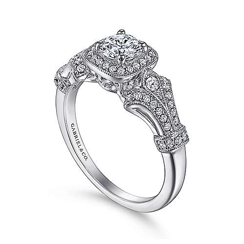 Zaira 14k White Gold Round Halo Engagement Ring angle 3